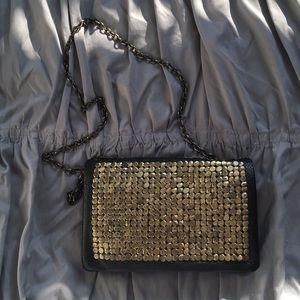 Black and gold clutch/crossbody bag